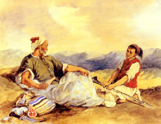 Eugene Delacroix. Two Moroccans in the village