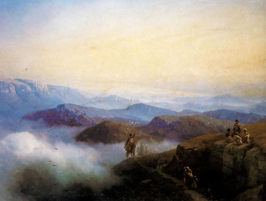 Ivan Aivazovsky. Chain of the Caucasus mountains. The view from Karniski the mountains to the Temir-Khan-Shura, in the Caspian sea