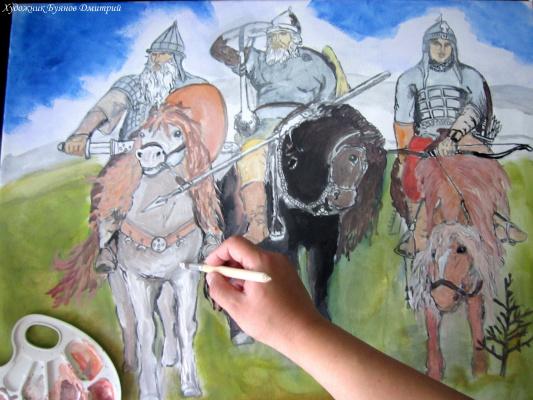 Дмитрий Юрьевич Буянов. Three heroes (sketch)