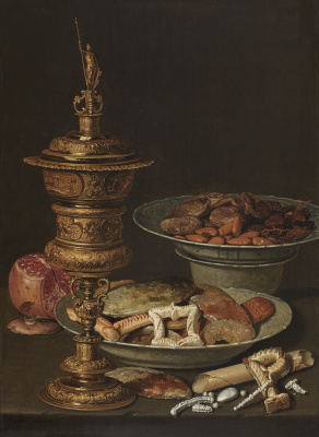 Clara Peeters. Still life with sweets, garnet, gold Cup and porcelain