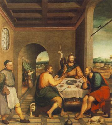 Jacopo da Ponte Bassano. Supper at Emmaus