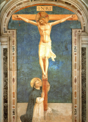 Fra Beato Angelico. Saint Dominic bowing down to crucifixion. Fresco of the Monastery of San Marco, Florence