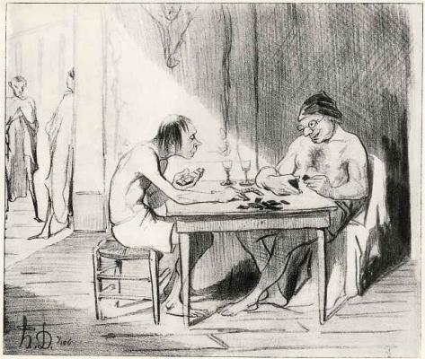 Honore Daumier. Men's bath