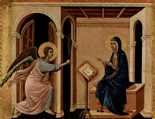 Дуччо ди Буонинсенья. Маэста, алтарь сиенского кафедрального собора, передняя сторона, Алтарь со сценами Успения Марии: Благовещение