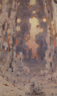 Arkhip Ivanovich Kuindzhi. Sun spots on hoarfrost. Sunset in the forest