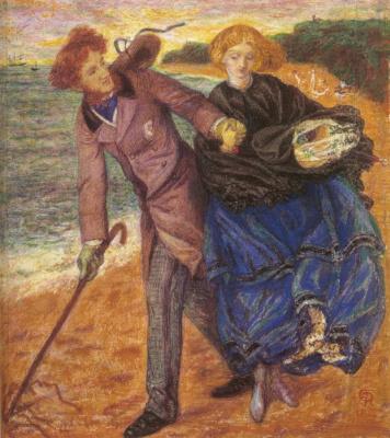 Dante Gabriel Rossetti. Inscriptions in the sand (Portrait of sir Richard Rivington Holmes and Elizabeth Eleanor Siddal)