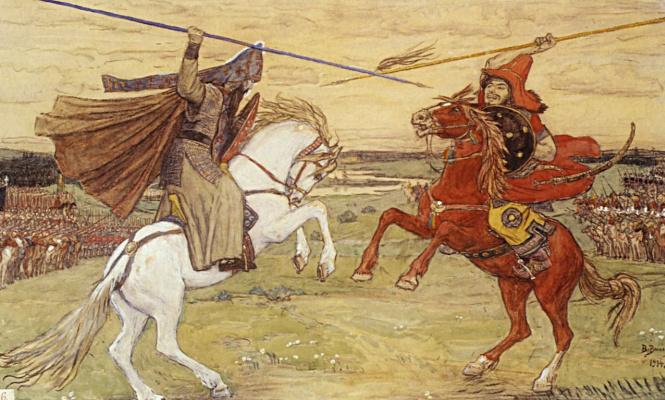 Victor Mikhailovich Vasnetsov. Single combat of Peresvet with Chelubey