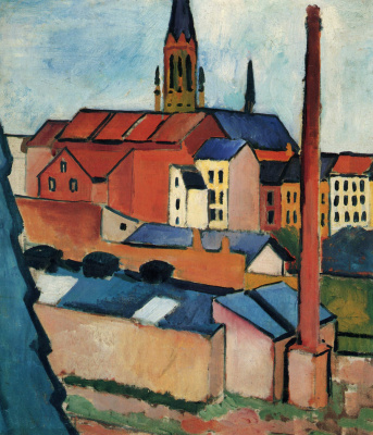 August Macke. St. Mary's Church with houses and chimney