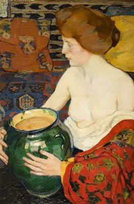 Елена Андреевна Киселева. Натурщица с зеленой вазой. 1910