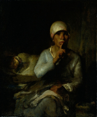 Jean-François Millet. Hush! (Portrait of a woman with a child)