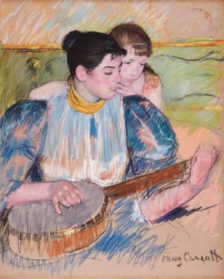 Mary Cassatt. Lesson banjo