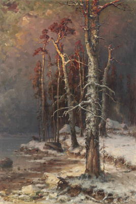 Julius Klever. Winter in the forest near lake Peipus