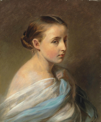 Franz Xaver Winterhalter. Portrait of a girl with blue and white shawl