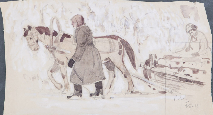 Владимир Иванович Соколов. Лошадь в упряжке.