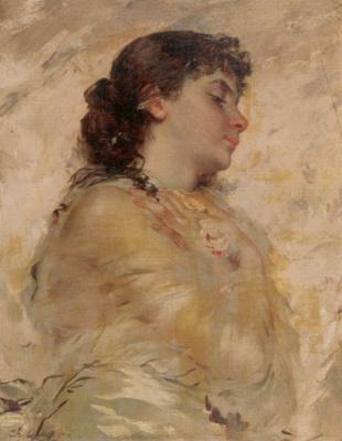 Чарльз Чаплин. Портрет молодой женщины в профиль
