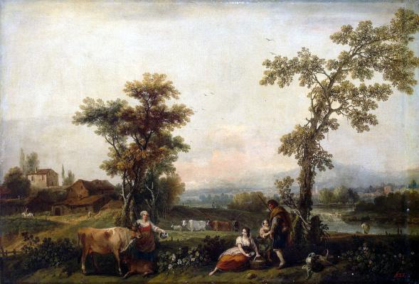 Франческо Дзуккарелли. Пейзаж с женщиной, ведущей корову