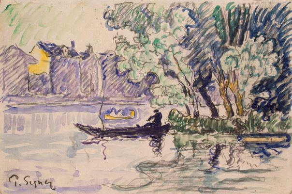 Paul Signac. Fisherman in a boat on the Seine