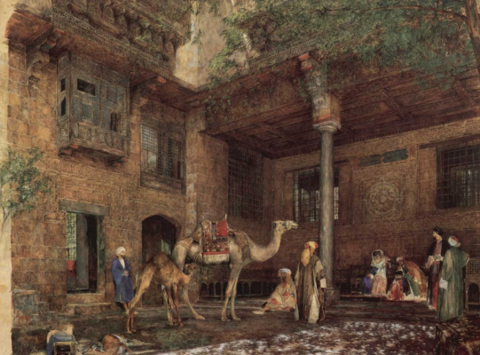 John Frederick Lewis. The courtyard of the house of the artist in Cairo