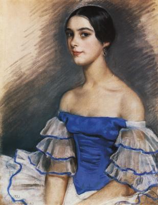 Зинаида Евгеньевна Серебрякова. Портрет Е. Н. Гейденрейх в голубом