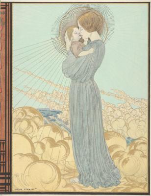 Карлос Швабе. Дизайн обложки Мадонна с Младенцем. 1895  корпусная краска