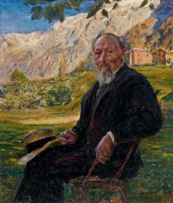 Giovanni Giacometti. Portrait of the artist's father in a landscape, Bergel