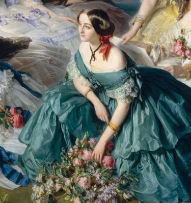 Franz Xaver Winterhalter. The Empress Eugenie with her ladies in waiting. Fragment II
