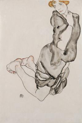 Эгон Шиле. Женщина в сером плаще, стоящая на коленях