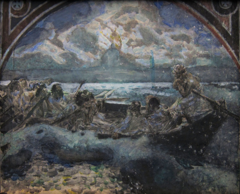 Mikhail Vrubel. Walking on water. A sketch of the mural