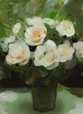 Крейг Маллинс. Белые цветы в вазе