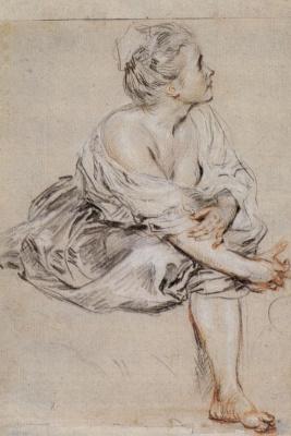 Антуан Ватто. Сидящая молодая женщина