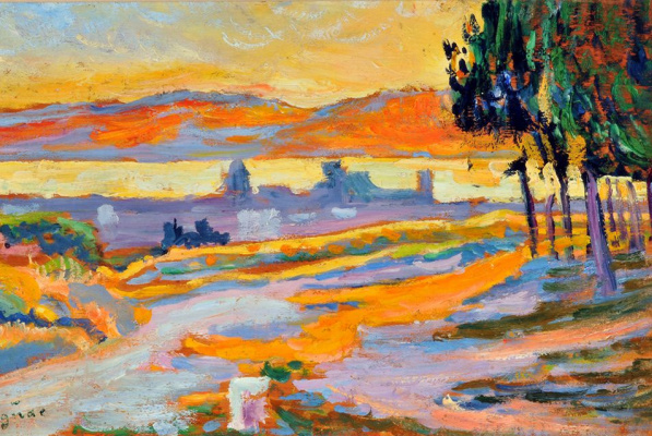 Paul Signac. Sunset over city (sketch)