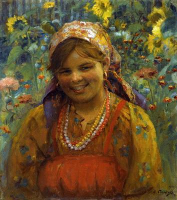 Федор Васильевич Сычков. Улыбающаяся девушка. 1910