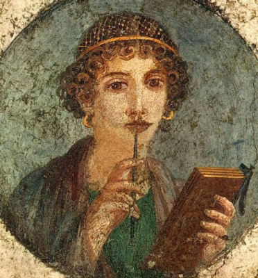 Unknown Author. Portrait of a girl, the so-called Sappho. A fresco from Herculaneum