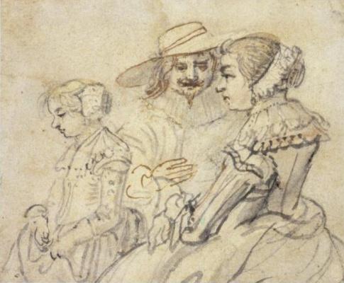Хендрик Аверкамп. Семейный портрет пары с дочерью