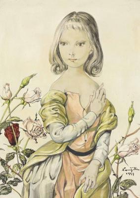 Zuguharu Fujita (Léonard Fujita). Girl with roses