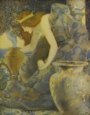 Maxfield Parrish. Arabian fairy tales. Queen Gulnara