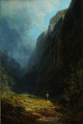 Karl Spitzweg. Alpine valley. Landscape with mount Wendelstein