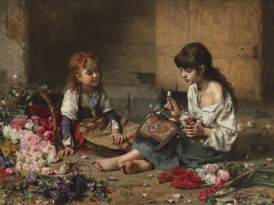 Alexey Alekseevich Kharlamov. Young flower girls. 1885