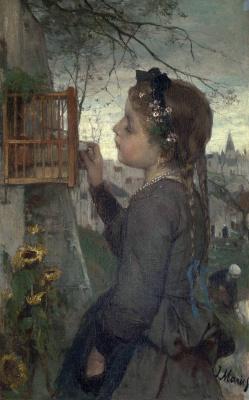Иаков Марис. Девочка кормит птицу в клетке