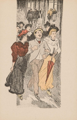 Theophile-Alexander Steinlen. The gentleman with two girls