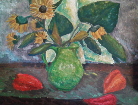 Zina Vladimirovna Parisva. Still life with sunflowers