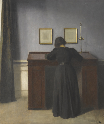 Vilhelm Hammershøi. Ida, standing at the desk. Stranddheed, 30
