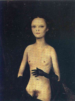 Otto Dix. Nude girl with gloves