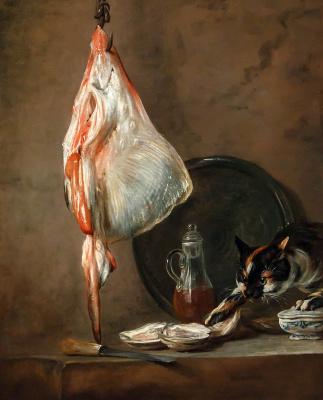 Жан Батист Симеон Шарден. Натюрморт со скатом, устрицами и кошкой II