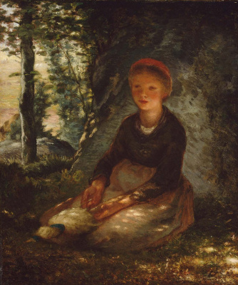 Jean-François Millet. Young shepherdess in the shade of a tree