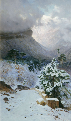 Joseph Evstafievich Krachkovsky. Winter in the Crimea. The road to Wuchang-Su. Omsk Regional Museum of Fine Arts. M. A. Vrubel
