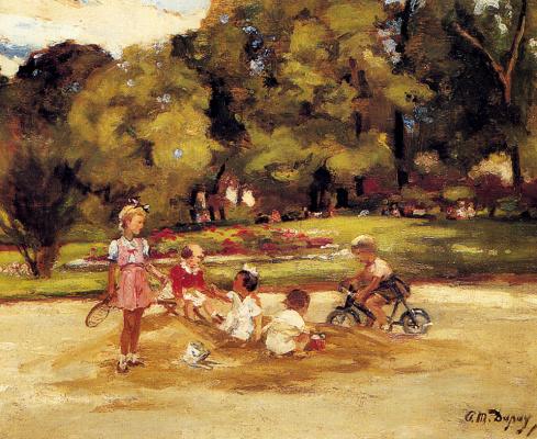 Пол Мишель Дюпюи. Дети играют на поляне