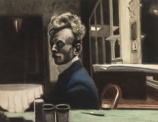 Леон Спиллиарт. 1908_Автопортрет (Self-portrait, 3 November)_49,7 x 65_бумага, тушь, акварель и цветные мелки