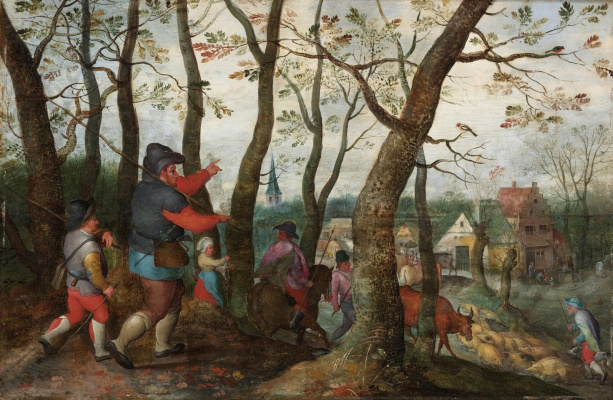 Martin van Cleve. Return of the shepherds to the village