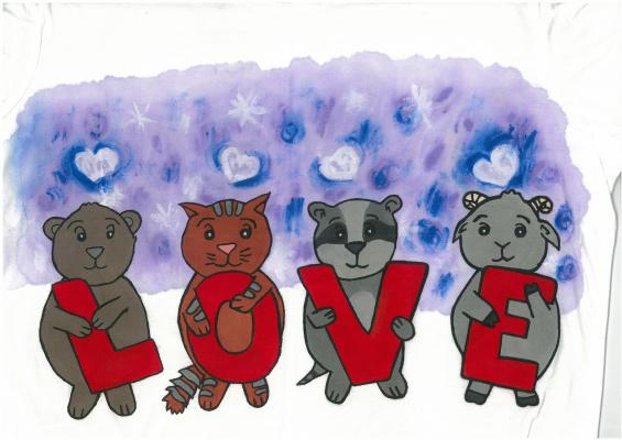 """Ирина Владимировна Хазэ. T-shirt """"Love"""" with handmade painting"""